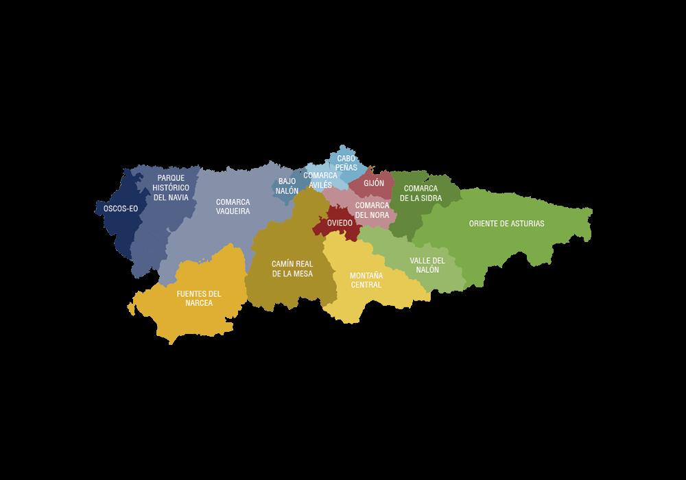 Mapa de la Comunidad de Asturias.
